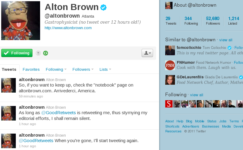 Alton Brown Leaves Twitter