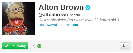 Alton Brown Twitter Bio