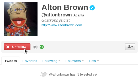 Alton Brown Unfollow