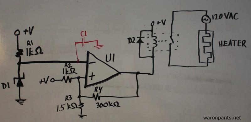 Aquarium Heater Controller - Hysteresis Schematic