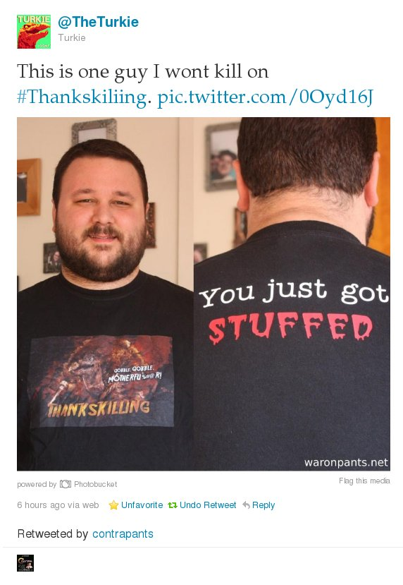ThanksKilling Shirt Tweeted By Turkie