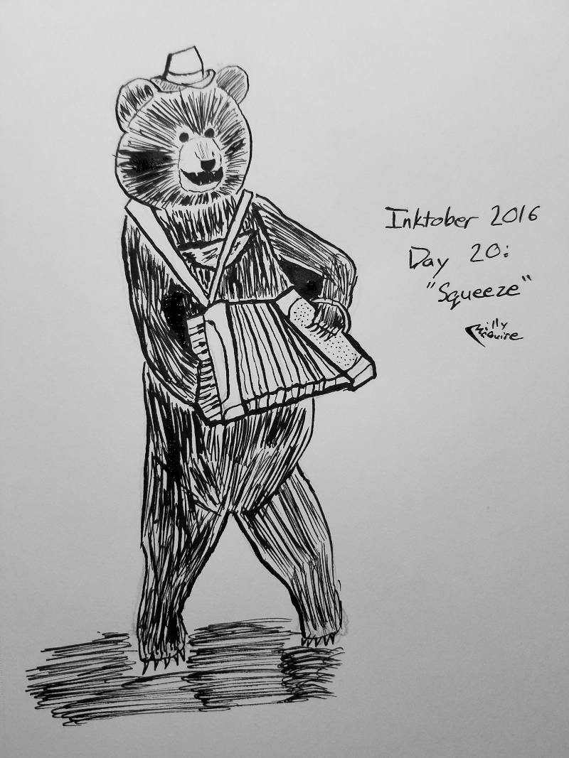 Bear in a Hat Playing an Accordion